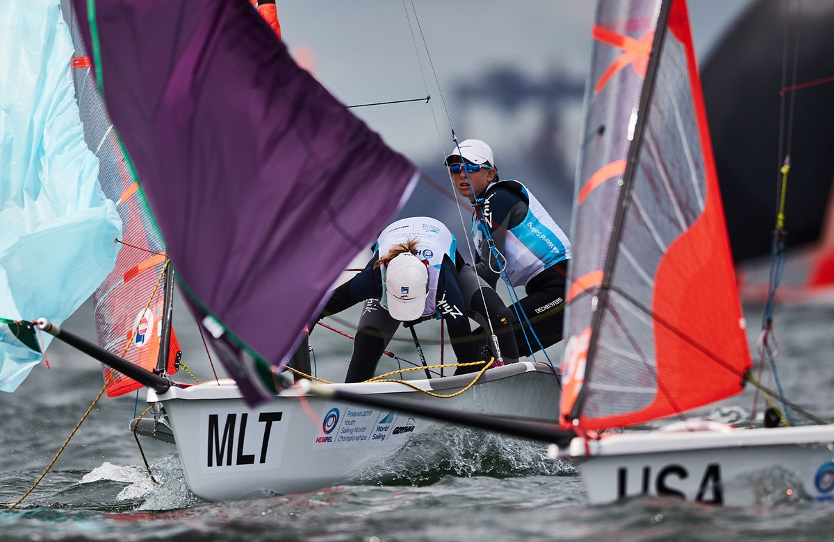 The Maltese 29er Girls battle to the front of the pack