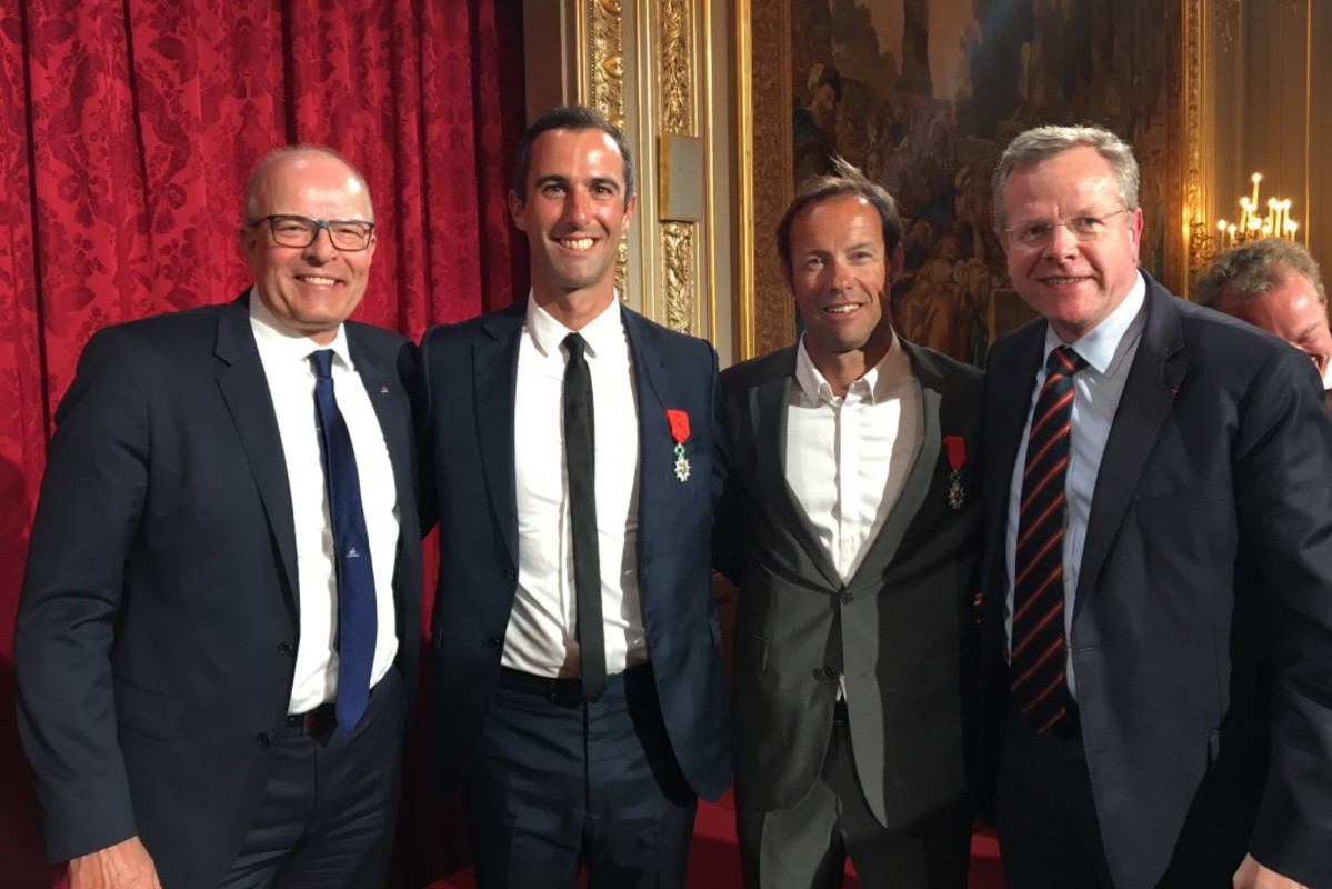 Left to right: WS President Kim Andersen, Armel Le Cleac'h, Thomas Coville and FFVoile President Nicolas Henard
